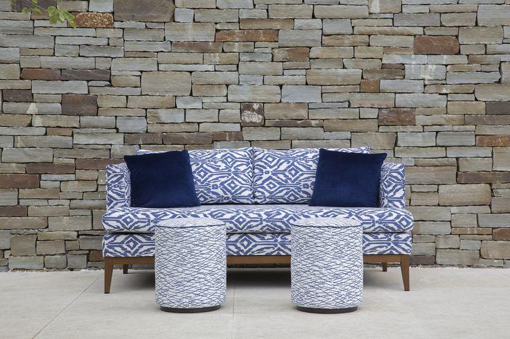 Coco Wolf outdoor Cherkley sofa in Perennials outdoor fabrics