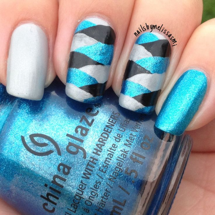 My Carolina Panthers fishtail mani - 7 Best Nail Art Images On Pinterest Sport Nails, Carolina Panthers