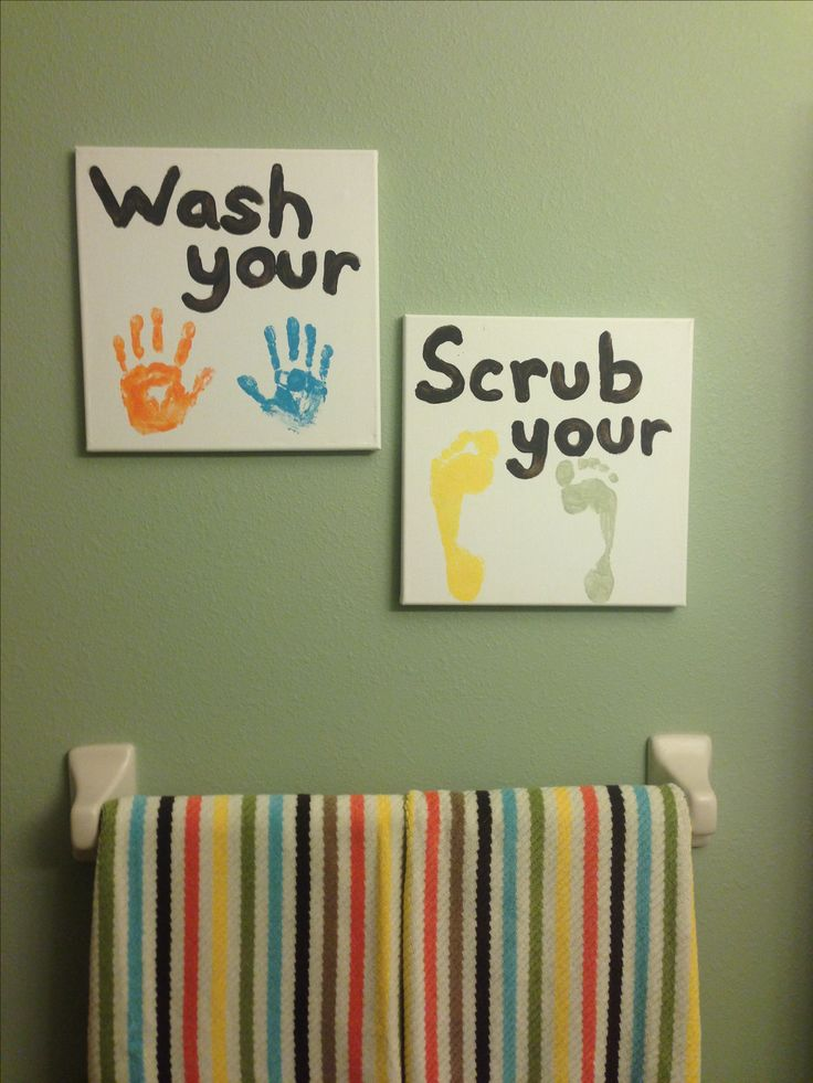 Kids Bathroom Art Idea Must Do I Need To Have Sawyer Do This Then I Can Add Maggie S After She Gets Here Beds Beds Beds Pinterest Bathrooms