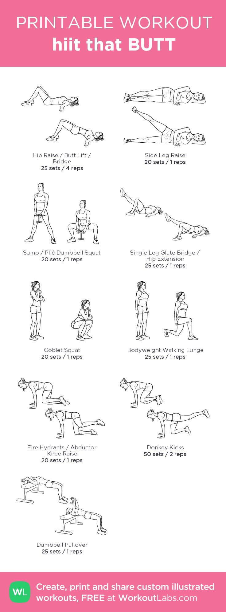 hiit that BUTT – my custom workout created at WorkoutLabs.com • Click through to download as printable PDF! #customworkout: