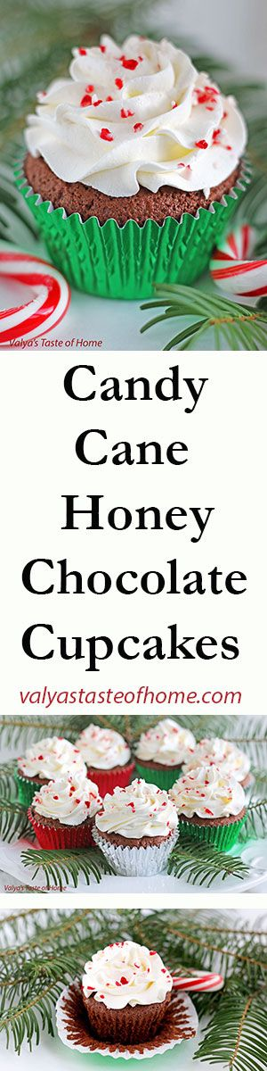 Candy Cane Honey Chocolate Cupcakes + Giveaway http://valyastasteofhome.com/candy-cane-honey-chocolate-cupcakes-giveaway