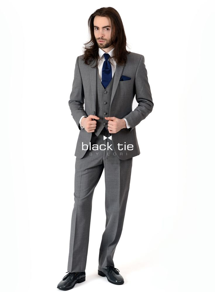 """Christian"" Grey Suit - Online Tuxedo Rentals by black tie BY LORI - For a classic look with an updated fit, the ""Christian"" Grey Suit is a versatile choice. Tailored in 100% worsted wool, it offers a slim fit design and a contemporary, narrow notch lapel. Dress it up or down to accommodate a range of events. Pair with matching flat front, modern, or slim fit pants and a matching vest for a 3-piece look."