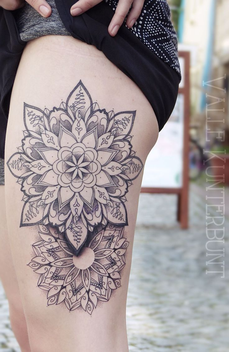 mandala, thigh tattoo, tattoo for girl