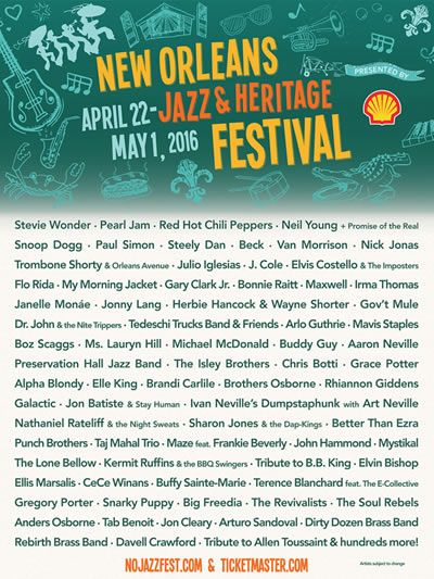 Stevie Wonder, Pearl Jam, Red Hot Chili Peppers & more to perform at #JazzFest 2016!
