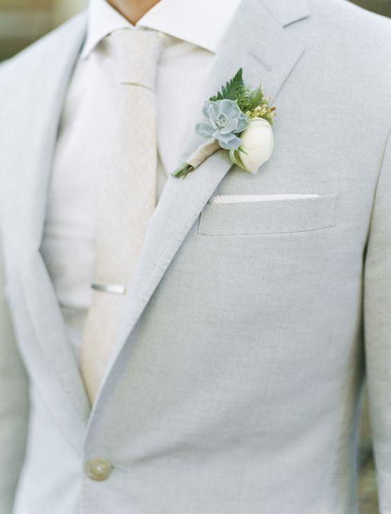 30 light grey suit with a cream tie and shirt, a succulent boutonniere - Weddingomania