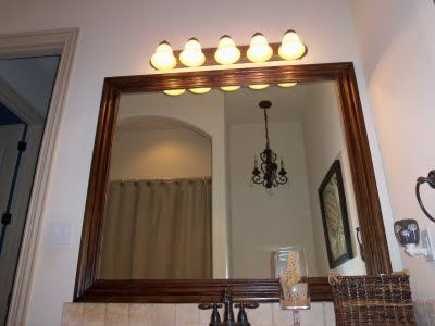 How to glue wood moulding to a mirror.: Faux Frames, Wood Moulding Frames, 07 Aug, Glue Wood, Bathroom Mirror, Organizationgreat Ideas, Bathroom Ideas, A Frames, Aug 01 00Am