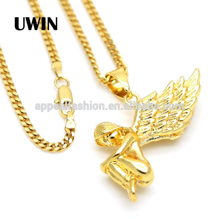 2016 New Design 18k Gold Angel Wings Fashion Pendant Necklace Hip Hop Gold Plating Chain Necklace