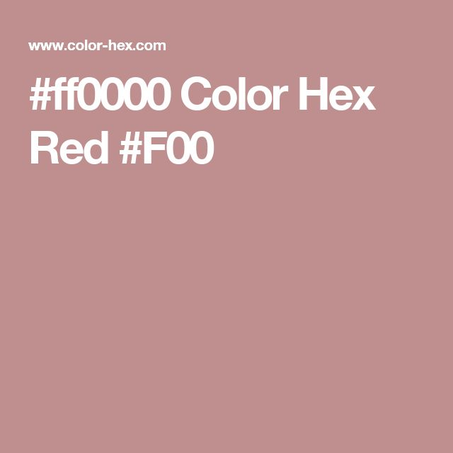 #ff0000 Color Hex Red #F00