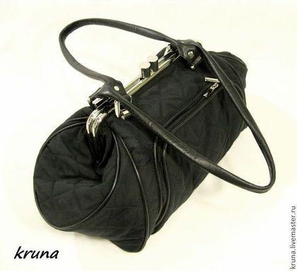 Женские сумки ручной работы. Ярмарка Мастеров - ручная работа. Купить Объемная сумка с фермуаром комбинированная из кожи и текстиля. Handmade.