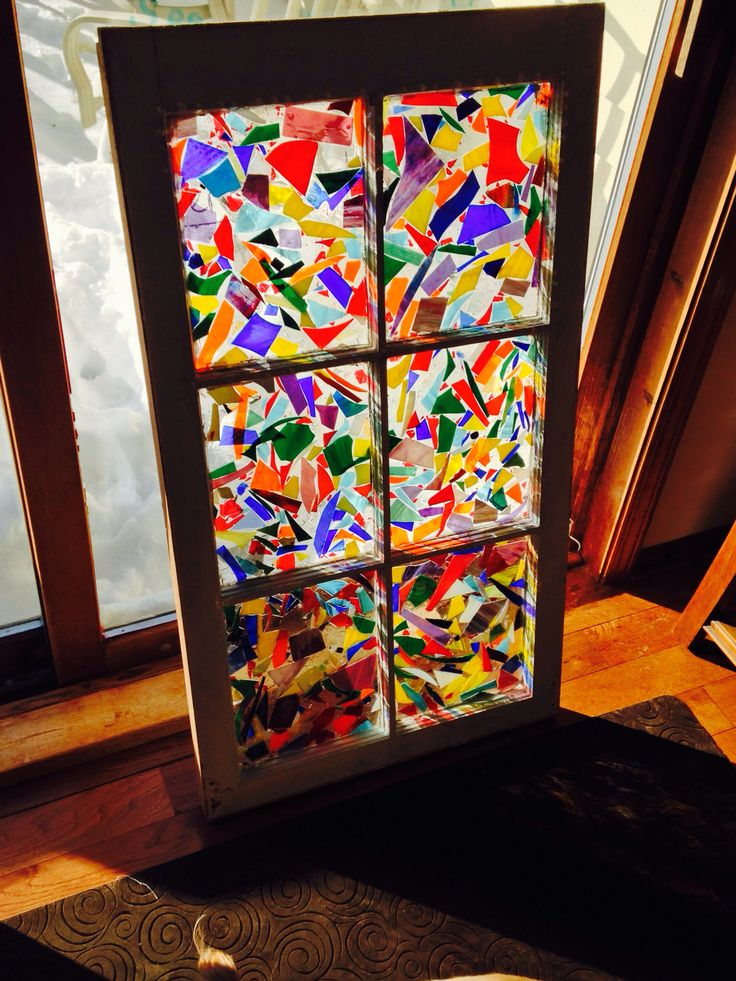My Newest Window Made With Scrap Stained Glass And Pour Over Epoxy Mosaics Pinterest
