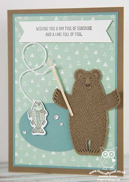 The Crafty Owl | Bear Hugs - Papa Bear Gone Fishin' in mint macaron, lost lagoon and soft suede
