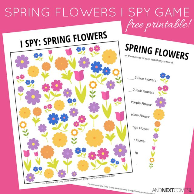 Free printable spring themed I Spy game for kids from And Next Comes L