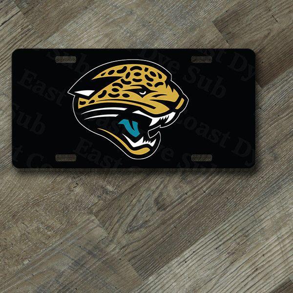 "Jacksonville Jaguars Black Background Design on 6"" x 12""  Aluminum License Plate by EastCoastDyeSub on Etsy https://www.etsy.com/listing/206537600/jacksonville-jaguars-black-background"