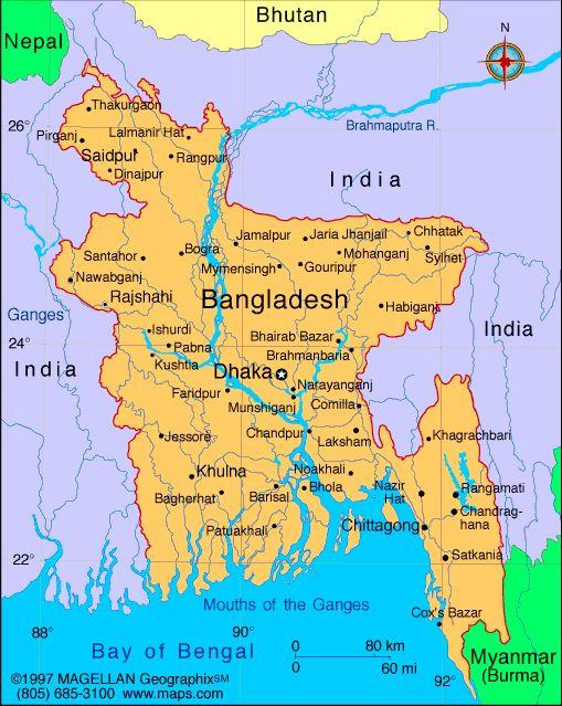 Map of Bangladesh. Capital Dhaka. Principal languages: Bangla (official), English. Ethnicity/race: Bengali 98%, tribal groups, non-Bengali Muslims (1998)