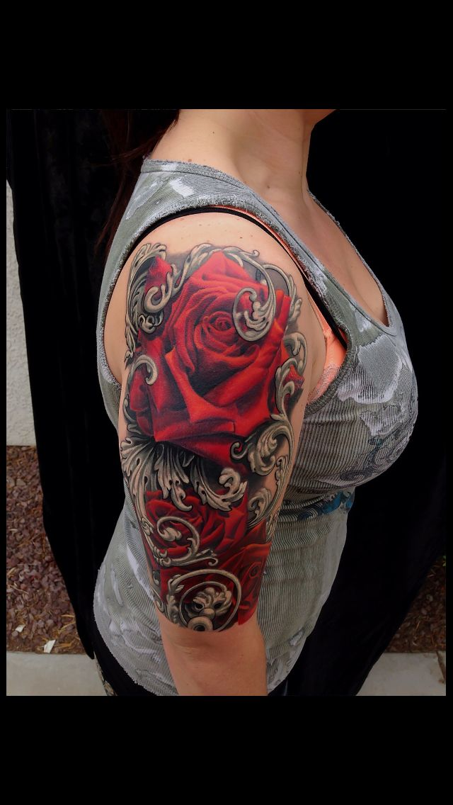 i love my rose and filigree tattoo this tattoo was done. Black Bedroom Furniture Sets. Home Design Ideas