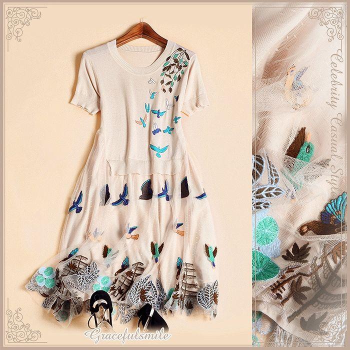 【楽天市場】羽ばたく鳥が可憐で愛らしい刺繍にうっとり/ドレス パーティードレス ワンピース ニット パーティドレス 2次会 大人上品 大人かわいい 大きいサイズ 20代30代40代50代/結婚式 二次会 お呼ばれ フォーマル レディース パーティ [cae35]:ライバルはデパート Gracefulsmile