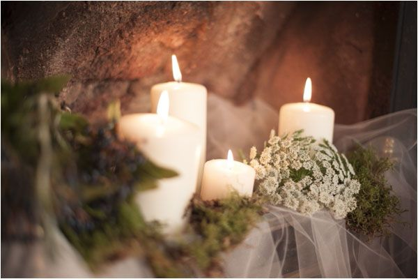 Candles - A Winter's Tale - a warm winter wedding ideas shoot from Hampden House in Buckinghamshire