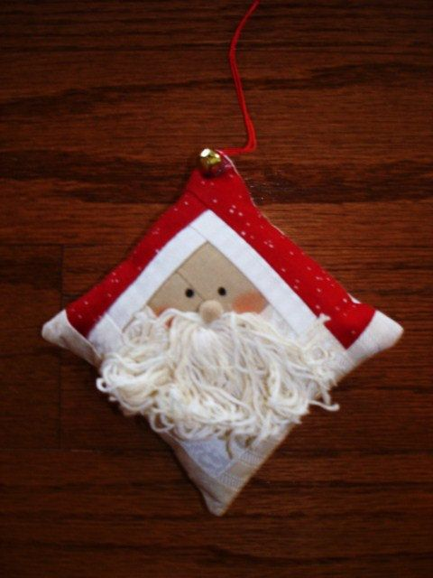 Log cabin Santa Claus Quilted Ornament by CountryStittches on Etsy