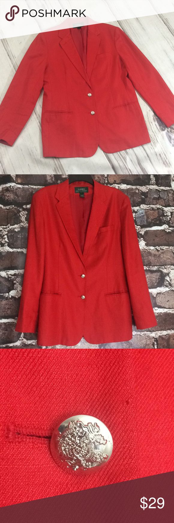 Lauren Ralph Lauren linen jacket blazer red 14 Ralph Lauren Long blazer jacket red linen women's 14  Red jacket perfect for the holidays linen. Fully lined. Front pockets were opened up. Very minor signs of wear in photos. Overall good condition. Double button front. Collared.  Lauren Ralph Lauren linen blazer coat red silver buttons. Lauren Ralph Lauren Jackets & Coats Blazers