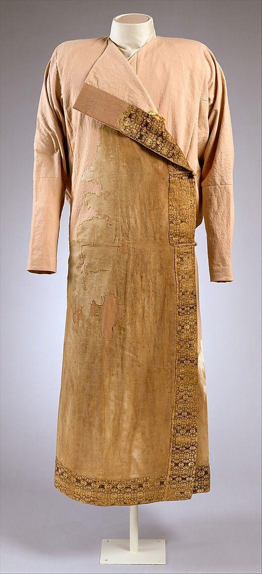 Caftan Date: ca. 8th century A.D. Geography: Caucasus region Medium: Silk, linen, fur Dimensions: L. 56 in. (142. 2 cm) Classification: Textiles-Costumes