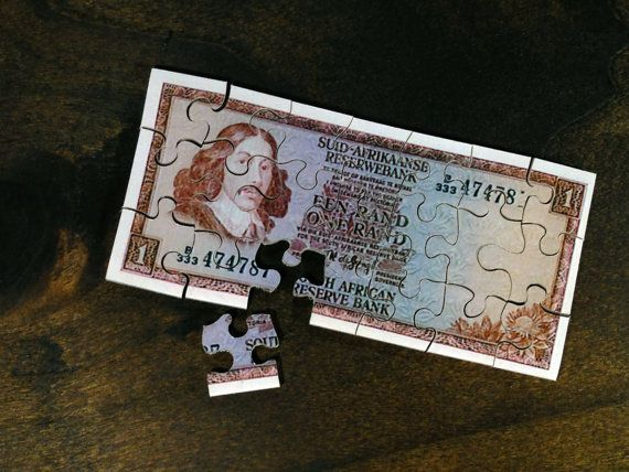 Old Banknote Wooden Puzzle  South Africa 1 Rand by Induku on Etsy