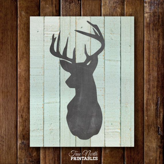 Deer head print woodland buck antlers wall art country for Country wall art
