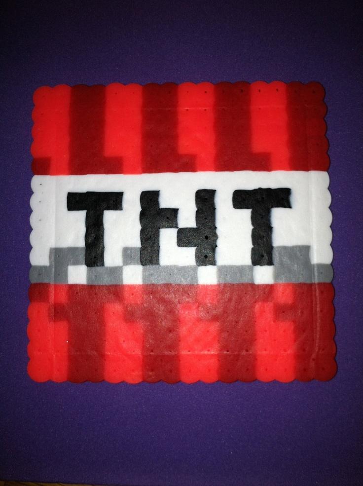 Perler Bead Minecraft Tnt Drink Coaster 3 99 Via Etsy