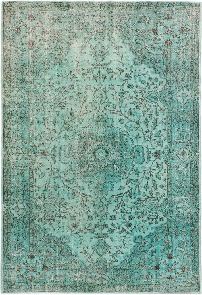 6 9 Quot X 10 0 Quot Turquoise Blue Green Turkish Overdyed Rug