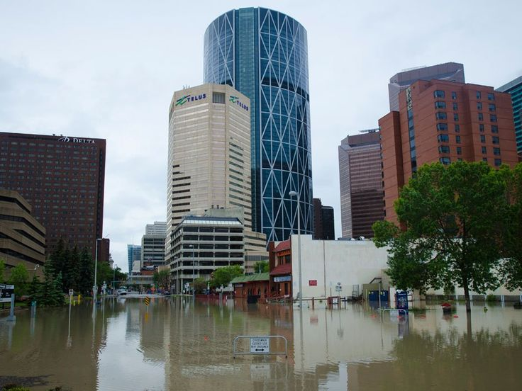 The flooded streets in Calgary near Riverfront Ave SE and 1st ST SE is photographed on Friday, June 21, 2013