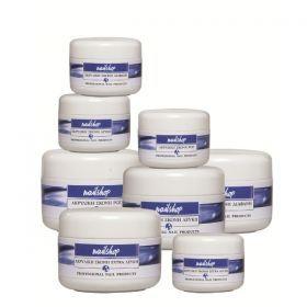 Naishop Ακρυλική Σκόνη Διάφανη 45gr Ακρυλική σκόνη άριστης ποιότητας για τεχνητά νύχια, εξασφαλίζει ομοιομορφία και σταθερότητα. Τιμή €11.50