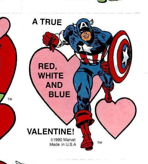 VAL005 Vintage Valentines Card. Captain America (2). 1990 Marvel. Blank Back