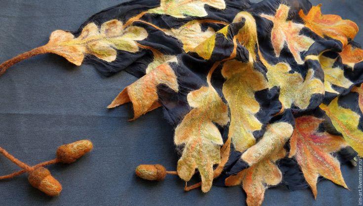 Купить бактус валяный Листопад - черный, рисунок, осень, осень 2015, листья, дубовый лист