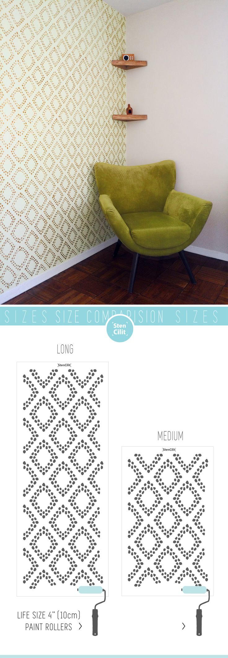 94 best wall stencils images on pinterest wall stenciling diamonds wall stencil feeling so retro amipublicfo Image collections