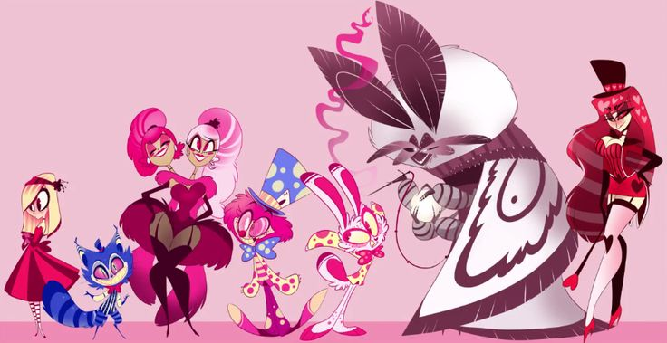 Character lineup from Vivziepop's new project Allison! From left to right: Allison, Cheshire, Dee, Dum, Hatter, Hare, Pillar, and the Queen. #Zoophobia #Vivzmind