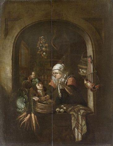 Naar Gerard Dou: Haringverkoopster en jongen in een venster. Naar Dou's: Een jongen en een oude vrouw met een haring in het venster van een winkel ca. 1670-1675. Dou's blijkt erg populair te zijn: er zijn ongeveer 23 kopieën bekend. Dit is er 1 van.
