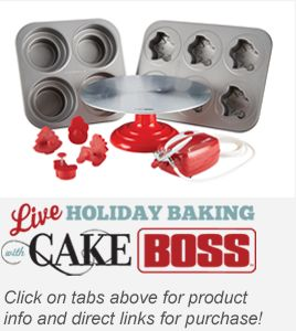 Get in the mix with Cake Boss's Buddy Valastro, daughter Sofia, and Gabrielle of Carlo's Bakery LIVE as they demonstrate easy holiday decorating ideas. Use the fun chat feature below to interact with other fans and ask Buddy questions.  Look below the video for more info on the Cake Boss products and how to use the chat feature.