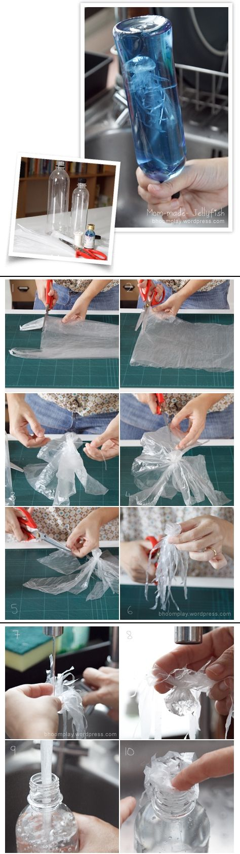 Jellyfish:plastic grocery bag/plastic water bottle/thread/food coloring. Flatten bag, cut off handle bottom. Cut along both sides to split into 2 sheets, use only 1. From center sheet, fold tiny balloon for head, tie w/thread-not too tight. Leave little hole to pour water in head. Cut from edge to head for 8-10 tentacles. Cut ea again into 3-4 small strings. Trim into long short pcs. Put water in head. Leave some air inside so floats. Fill bottle, add jellyfish blue food coloring. Recap.