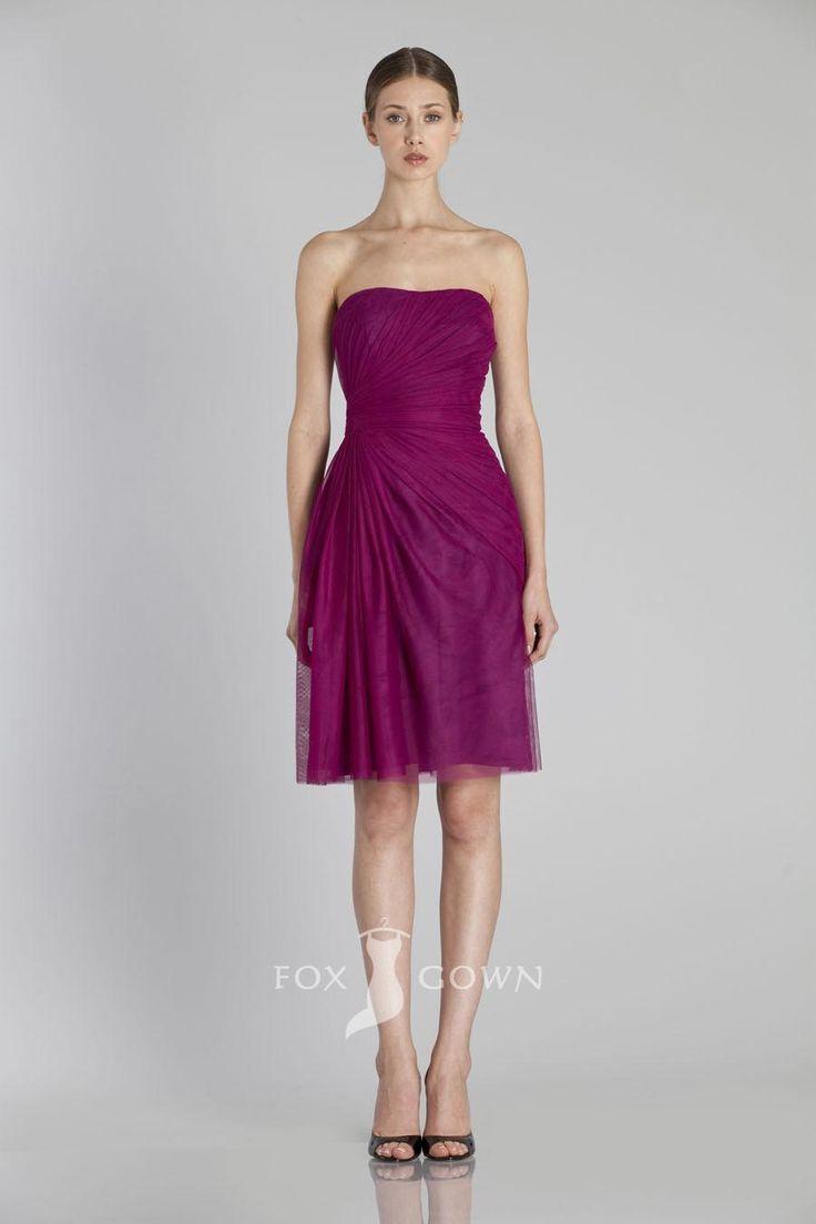 strapless side draped knee length veiled bridesmaid dress