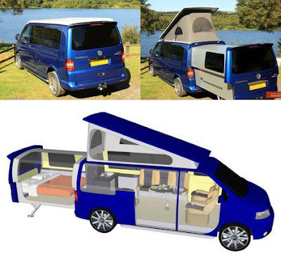 To have an RV car R (Recreational Vehicles) is very cool, but it's not easy for some people to drive an RV which is usually large enough. That is why VW has created the DoubleBack T5 Transporter a small RV.    Actually VW DoubleBack T5 Transporter is the VW T5 that has been modified to have additional space by sliding the rear side.