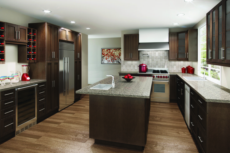 Cyprus Chocolate Pear. Dark cabinets are great for large and open kitchens. Change the island to light coloured cabinets for a classy look.  EuroRite Cabinets - Available at Yorkton Building Supplies.