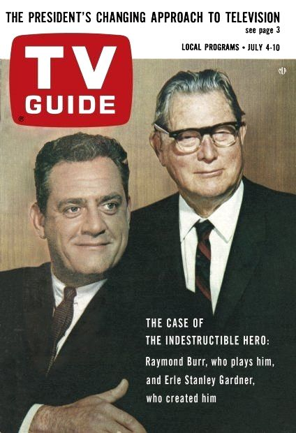Erle Stanley Gardner with Raymond Burr on the cover of TV Guide, July 4, 1964.