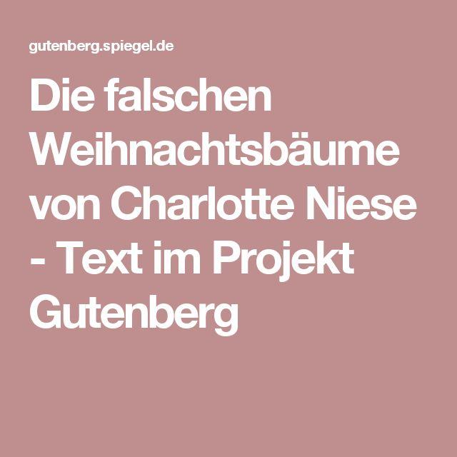 Die falschen Weihnachtsbäume von Charlotte Niese - Text im Projekt Gutenberg