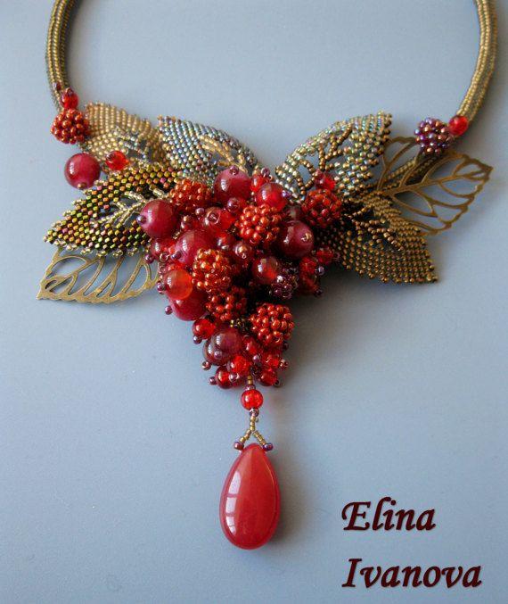 Beaded berry autumn necklace exclusive handmade bib necklace