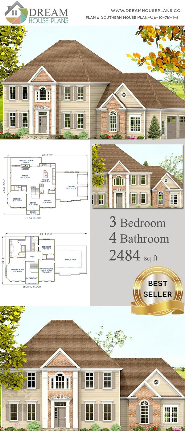 Dream House Plans Affordable Yet Luxury Southern 4 Bedroom 2484 Sq Ft House Plan With Basement Southern House Plans New House Plans Southern House Plan