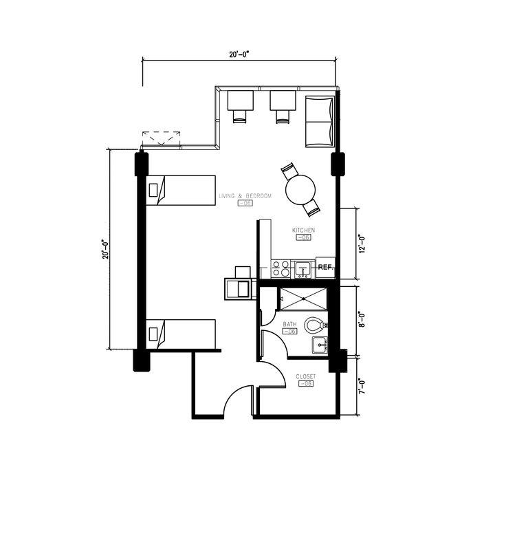 1 Bedroom Efficiency Apartment Plans: Morgens Hall 2 Person Small Studio Apartment Floor Plan