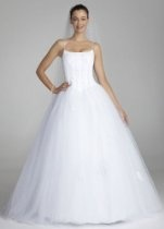David's Bridal Wedding Dress: Spaghetti Strap Tulle Ball Gown with Corset Style OP9004