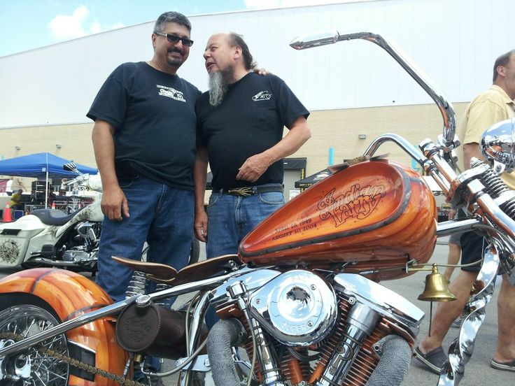Ron Finch and I chatting it up over the Indian Larry tribute bike