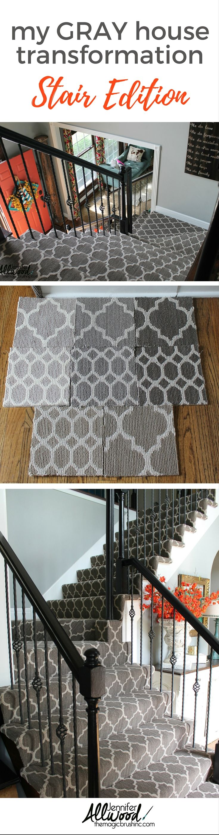 Staircase Idea. Here's my gray patterned stair carpet makeover. I chose a modern gray arabesque to replace the brown gold carpet. More DIY home projects, paintings tips and design advice at theMagicBrushinc.com