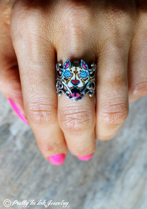 Day of the Dead baveux Pit-Bull Sugar Skull par PrettyInInkJewelry
