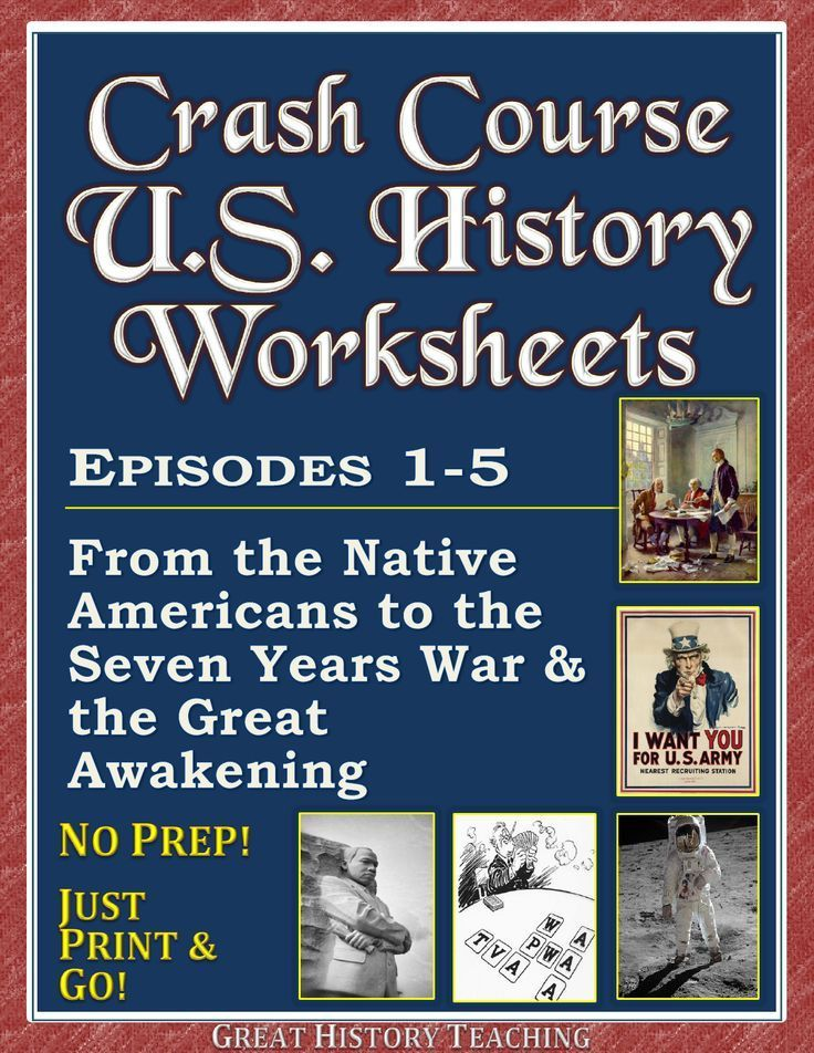 Crash Course U.S. History Worksheets make teaching & learning fun! A mix of T/F, fill-in, and free-answer formats, these U.S. History Crash Course worksheets also feature time-stamps on every question! Episodes 1-5 cover:   • The Black Legend, Native Americans, and Spaniards  • When is Thanksgiving?  • The Native Americans and the English  • The Quakers, the Dutch, and the Ladies  • The Seven Years War and the Great Awakening